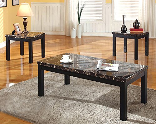 Obsidian Dark Sturdy Wood Frame With Faux-Marble Table Top Tea Coffee & 2 End Table Set