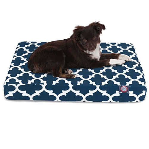 1 Piece Blue Trellis Pattern Dog Bed (Large), Elegant Geometric Print Pet Bedding For Puppies, Features Removable Cover, Water & Stain Resistant, Ultra Thick & Supportive, Rectangle Shape, Polyester by Unknown
