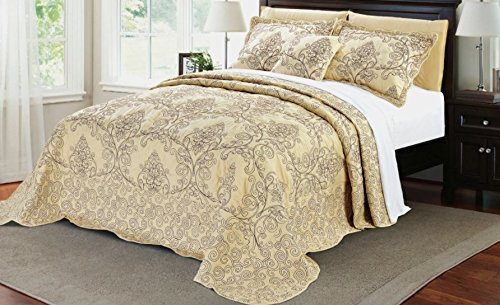 4 Piece 120 X 120 Light Beige Oversized Damask Bedspread King To The Floor, Hangs Over Edge Floral Bedding Drops Side Bed Frame Drapes Large Extra Wide Long French Country Pattern, Polyester by DH