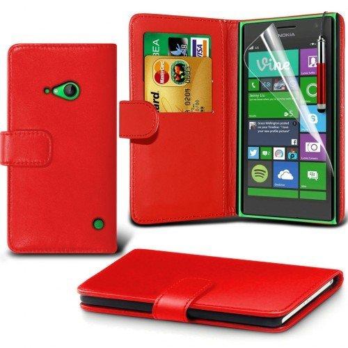 Nokia Lumia 735 Cubierta del caso con cuero (Rojo) Plus de regalo libre, Protector de pantalla y un lápiz óptico, Solicitar ahora mejor caja del teléfono Valorado en Amazon! By FinestPhoneCases