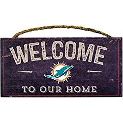 Miami Dolphins NFL Team Logo Garage Home Office Room Wood Sign with Hanging Rope - WELCOME TO OUR HOME
