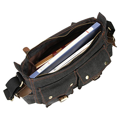 YOOMALL Hombres de retro bolso de lona, bolso de hombro, telas de alta calidad, No se descolora, elegante, relajado, se puede utilizar para la escuela, trabajo, viajes etc. (Negro) Negro