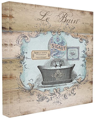 Le Bain Plaque - Stupell Home Décor Le Bain Wood Look Bath Stretched Canvas Wall Art, 17 x 1.5 x 17, Proudly Made in USA