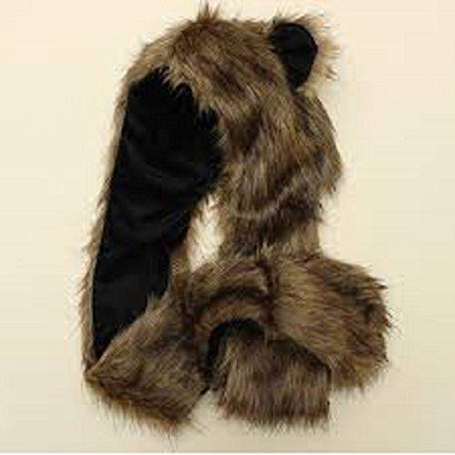 ELYSIUMLAND 3 in 1 Function Brown Wolf Faux Fur Full Animal Hood Hat Winter Warmer Cap New Function Brown Wolf Faux Fur Full Animal Hood Hat Winter Warmer Cap -