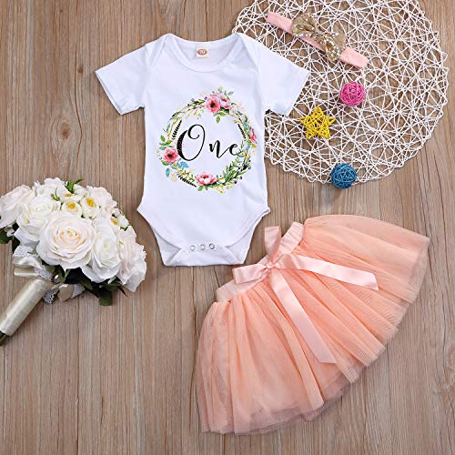 3Pcs Baby Girl One 1st Birthday Outfits Floral Romper Tulle Tutu Skirt Set Party Dress Costume Cloth - http://coolthings.us
