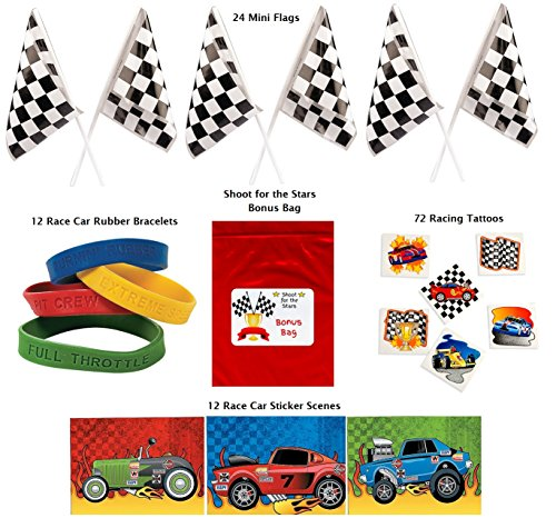 Racing Party Favor Pack 120 pc Kid's Race Car Birthday (24 Mini Checkered Flags, 12 Rubber Bracelets, 72 Tattoos, 12 sticker sheets, Bonus Bag)