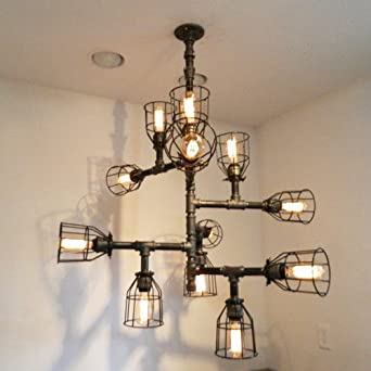 Superior 12 Bulb Buzz Black Iron Pipe Chandelier