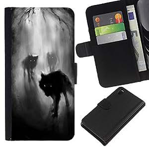 KLONGSHOP // Tirón de la caja Cartera de cuero con ranuras para tarjetas - Niebla Noche Oscuro Bosque del hombre lobo - Sony Xperia Z3 D6603 //