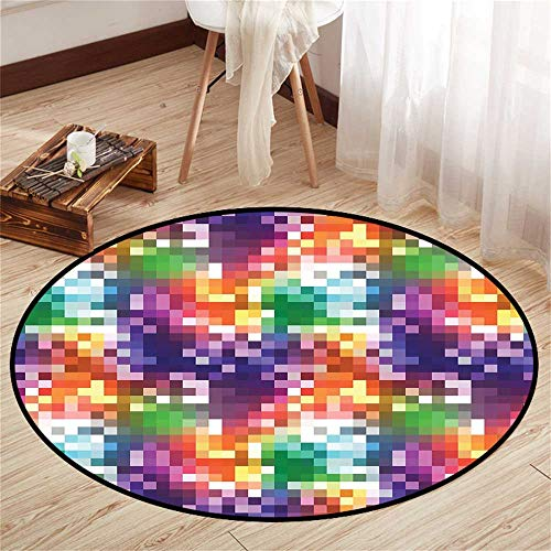 (Circle Baby Floor mat Activity Gym Round Indoor Floor mat Entrance Circle Floor mat for Office Chair Wood Floor Circle Floor mat Office Round mat for Living Room Pattern 3'11