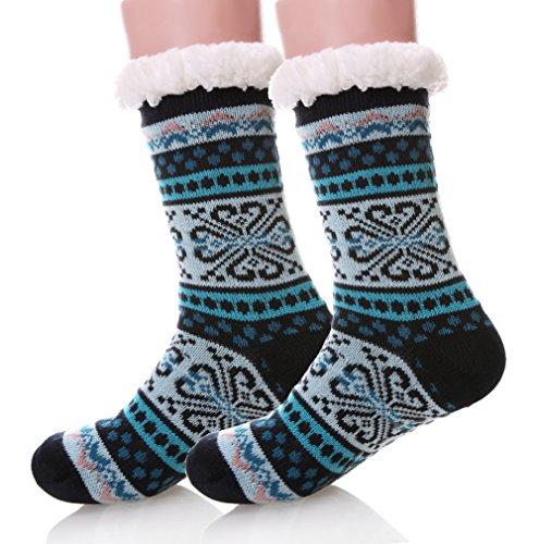 Women's Super Soft Fleece Lining Fuzzy Snowflake Christmas Knee Highs Stockings Slipper Socks (Blue) (Plus Stockings Lined Size)