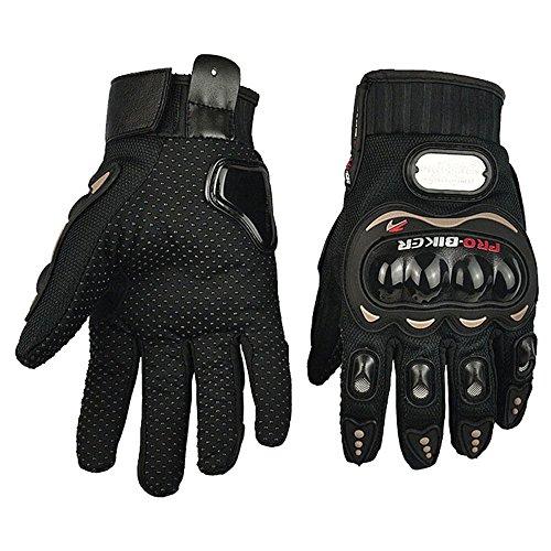Fortag Motorradhandschuhe kurze Sport Leder Sommer Winter Vollfinger Handschuhe Blau Rot Schwarz M-XXL (M, Schwarz)