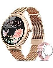 NAIXUES smartwatch voor dames, slaap- en caloriemonitor, hartslagmeter, 7 sportmodi, slimme meldingen, sporthorloge voor dames voor Android iOS
