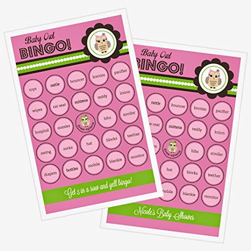 3 sets of 16 Pink Owl Bingo by Eventblossom