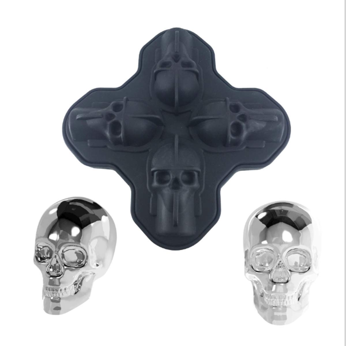 3D Skull Ice Cube Tray Mould, Makes Four Vivid Skulls, Food Grade Flexible Silicone Ice Cube Maker in Shapes for Whiskey Ice and Cocktails (Black)