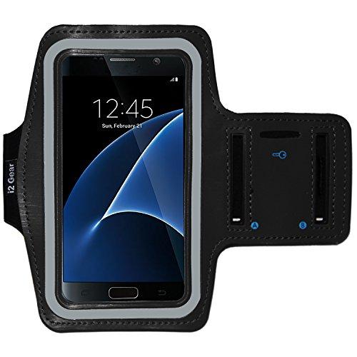 Large Product Image of Galaxy S7 Running & Exercise Armband with Key Holder & Reflective Band (Black)