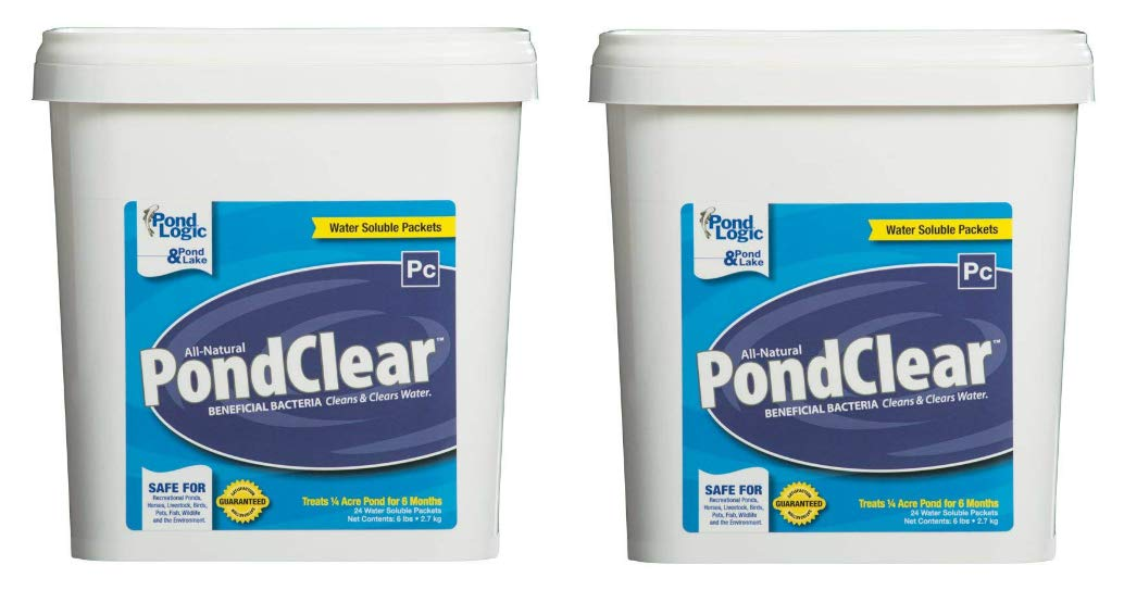 Pond Logic 2-Pack of PondClear 24 Pack - 48 Packets Total - Natural Beneficial Bacteria Restore Pond Water Clarity & Quality, Remove Bad Odors by Pond Logic