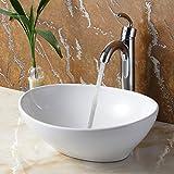 ELITE Bathroom Egg White Ceramic Porcelain Vessel Sink & Chrome Single Lever Faucet