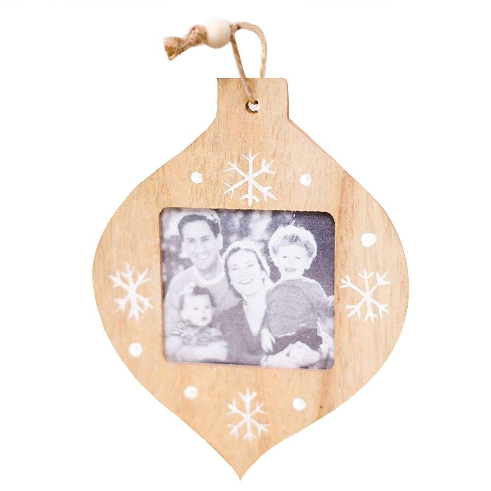 Window-pick 5PCS Christmas Wall Hanging Picture Photo Frames with Wire - Wooden Photo Frame Pendant Display Frame