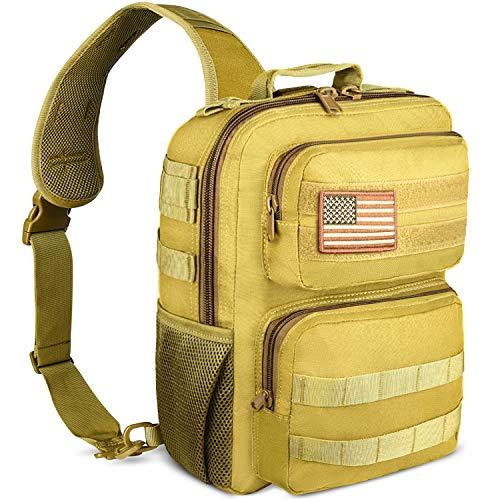 NOOLA Tactical Sling Bag Pack Military Shoulder Sling Backpack Small Range Bag Pack Tan