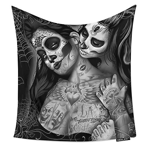 Moslion Room Art Wall Tapestry Black and White Art Sugar Skull Flower Cool Dorm/Bedroom Decor Tapestry Wall Hanging for Men/Boy/Girl 60W X 80H ()