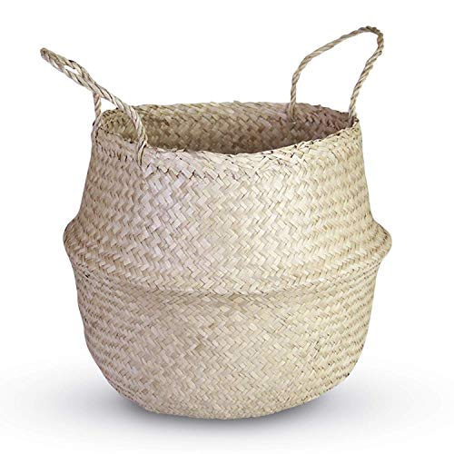 HandyMake Seagrass Belly Basket – 10 Basket Planter Styles in Small, Medium or Large for Home Décor, Laundry, Storage, Toy Organizer, Picnic, Nursery Hamper Use (Natural Seagrass, Medium)