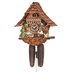 German Cuckoo Clock 8-day-movement Chalet-Style 10.00 inch - Authentic black forest cuckoo clock by Hekas