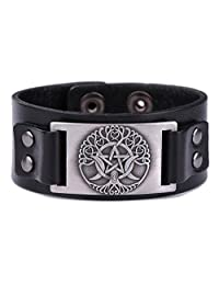 Religious Pagan Triple Moon Goddess Pentagram Tree of Life Metal Cuff Leather Bracelet for Men/Women