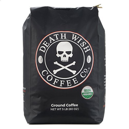Death Wish Ground Coffee Bulk Deal, The World's Strongest Coffee , Fair Trade and USDA Certified Organic - 5 lb Bag (Get Him To The Greek Black Guy)