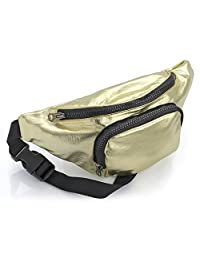 Metallic Gold Fabric Waist Bag Fanny Pack Money Bum Bag Hip Belt