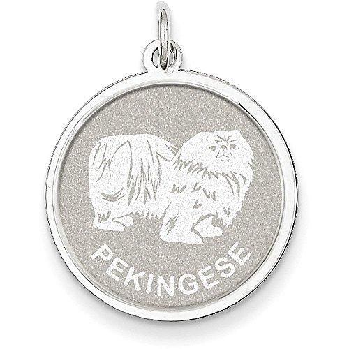 Pekingese Disc Charm (Sterling Silver Pekingese Disc Charm - (1.02 in x 0.75 in))