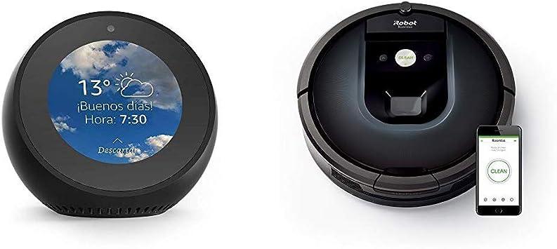 Echo Spot negro + iRobot Roomba 981 - Robot aspirador para alfombras, potencia de succión 10 veces superior, cepillos de goma antienredos, Dirt Detect, conexión Wifi, programable por app, compatible con Alexa: Amazon.es
