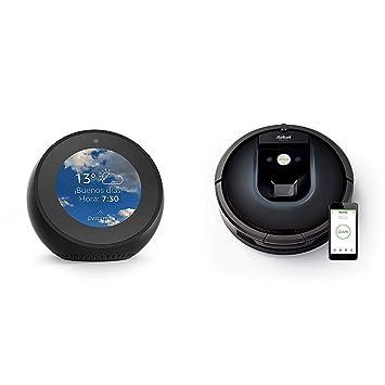 Echo Spot negro + iRobot Roomba 981 - Robot aspirador para alfombras, potencia de succión