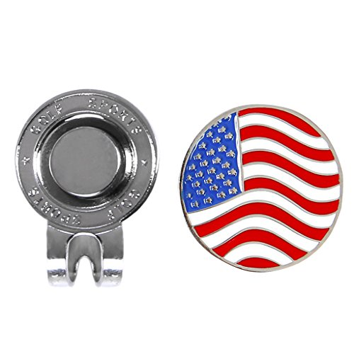 Onpiece American Flag Golf Cap Clip Ball Marker with Magnetic Hat Cap Clip