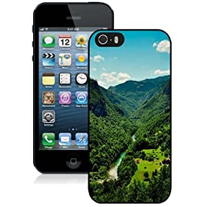 NEW Unique Custom Designed iPhone 5S Phone Case With Small Mountain Village River_Black Phone Case