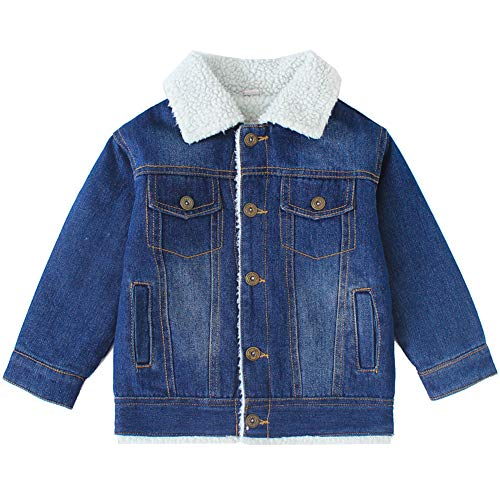 (Oushiny Kids' Sherpa Lined Denim Jacket Warm Outerwear,White,9-10)