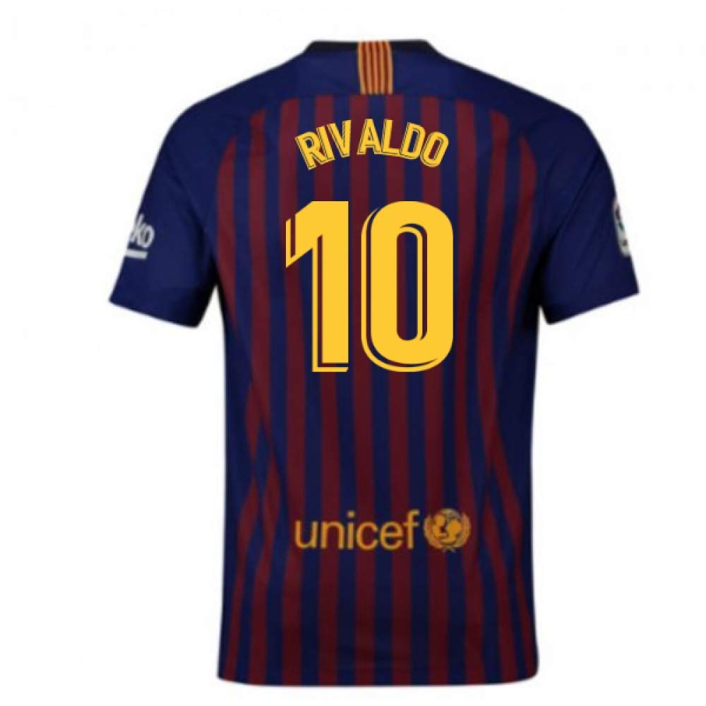 2018-2019 Barcelona Home Nike Football Soccer T-Shirt Trikot (Rivaldo 10)