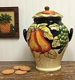 Winter Fruit Cookie Jar Ceramic Black