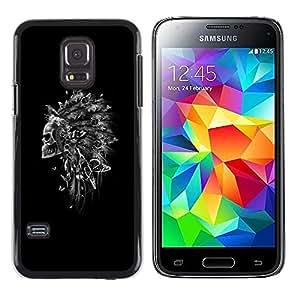 LECELL--Funda protectora / Cubierta / Piel For Samsung Galaxy S5 Mini, SM-G800, NOT S5 REGULAR! -- Indian Feather Headdress Black Skull --