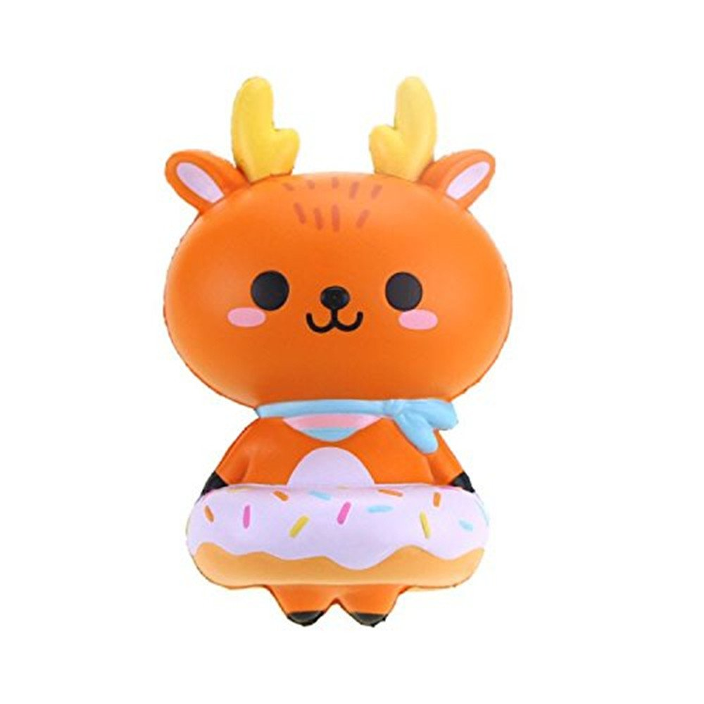 Beautly Stress Relief Slow Rising Large Size Deer Toy ,Decompression Toy for Adults and Kids,Kill time,Anti-Anxiety,Keep Focus,Relaxing,Soft Squeeze Toys for Friends,Boys and Girls (Brown) by Beautly