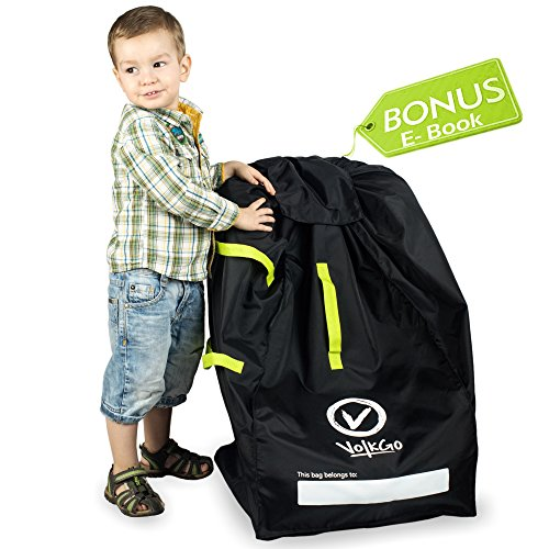 VolkGo Durable Car Seat Travel Bag with Bonus e-Book -- Ideal Gate Check Bag for Air Travel & Saving Money -- for Safe & Secure Car Seat -- Fits Car Seats, Infant Carriers & Booster - Hands Free Car Seat Carrier