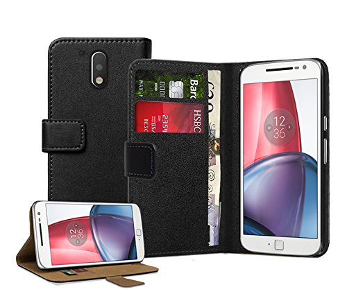 Membrane Funda Motorola Moto G4 / G4 Plus Carcasa Negro Ultra Slim Case Flip Cover Cartera Cuero