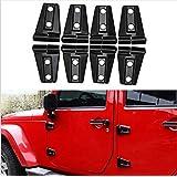 FMtoppeak One Set of 8 Pcs Black ABS Door Trim Engine Hood Hinge Cover For 2007-2016 Jeep Wrangler JK 4 Door