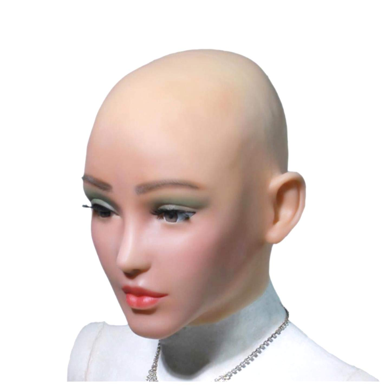 Foryourlife Maschera in Silicone Realistico Femminile per Travestimento Cosplay Crossdresser,No.1Ivory