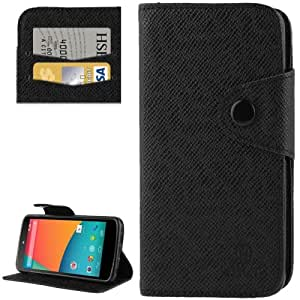 Cross Texture Leather Case with Credit Card Slot & Holder for Google Nexus 5 / E980 (Black)