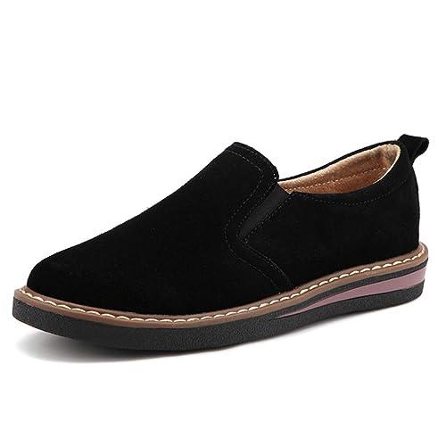 Otoño Las Mujeres Zapatillas de Piso deslizarse Sobre Mocasines Planos de Cuero Zapatos Hechos a Mano Zapatos de Barco Oxfords: Amazon.es: Zapatos y ...