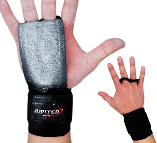 - Jupiter Leather Hand Grips with Wide Wrist Wraps-Perfect for Pull-up Training, Kettlebells and Barbell Training, Weightlifting (Black(2 Holes/Double Leathers), Large)