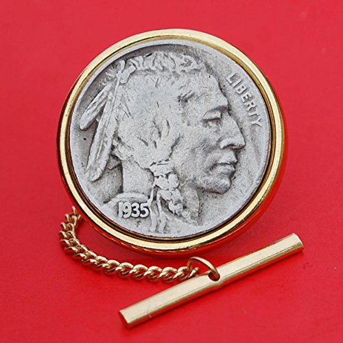- US 1935 Indian Head Buffalo Nickel Gold Plated Tie Tac Tack BRAND NEW