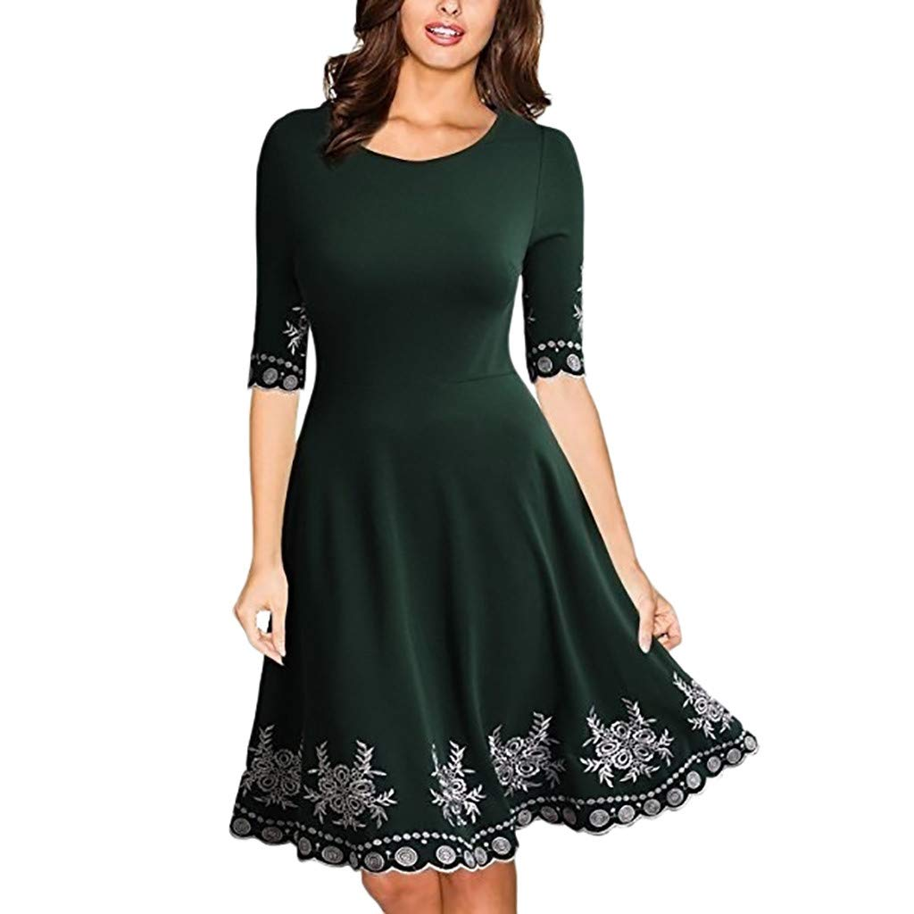 Women Lace Dress Half Sleeve O Neck Printed Casual Slim Prom Gown Cocktail Party Midi Dress