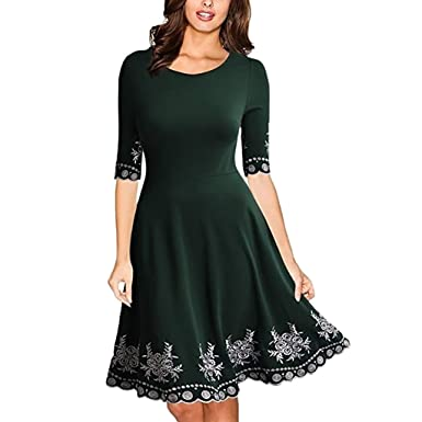 9c6e1c3ac Image Unavailable. Image not available for. Color: Corsion Women's Dress  Ladies Casual Half Sleeve Plus Size Printed Dresses 5XL
