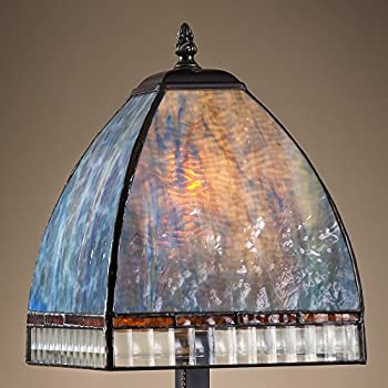 tiffany stained glass lamp. J Devlin Lam 589-2 TB Tiffany Stained Glass Mission Table Lamp Opalescent Multi Colors